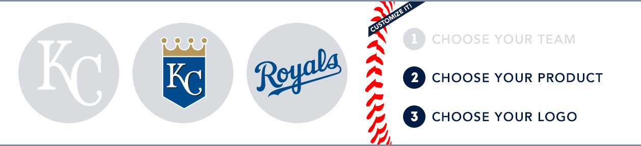 Kansas City Royals Custom MLB Shop: 1) Choose your team. 2) Choose your product. 3) Choose your logo