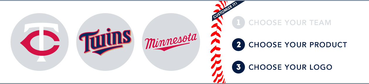 Minnesota Twins Custom MLB Shop: 1) Choose your team. 2) Choose your product. 3) Choose your logo