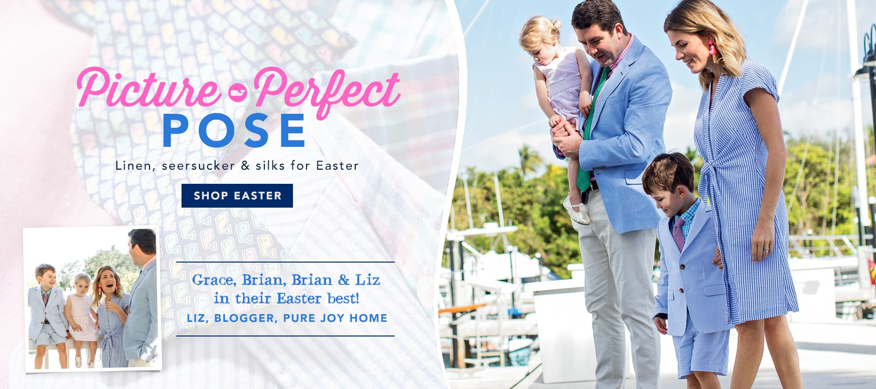 Picture perfect pose. Linen, seersucker & silks for Easter.Shop Easter.