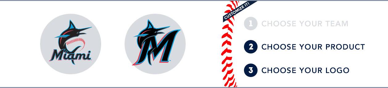 Miami Marlins Custom MLB Shop: 1) Choose your team. 2) Choose your product. 3) Choose your logo