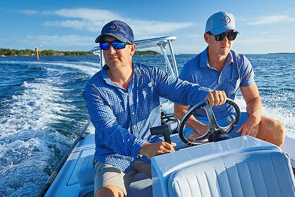 Capt. Jesse and AJ test out some performance gear out on the water