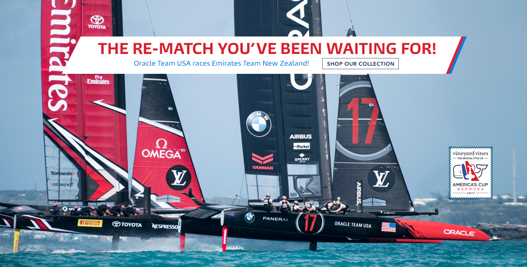 The re-match you've been waiting for! Oracle Team USA races Emirates Team New Zealand! Shop our collection.