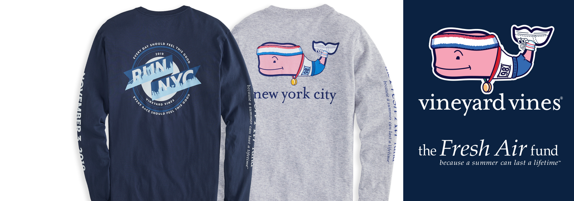vineyard vines NYC Marathon supporting the Fresh Air Fund. 30% of proceeds will go to the Fresh Air Fund