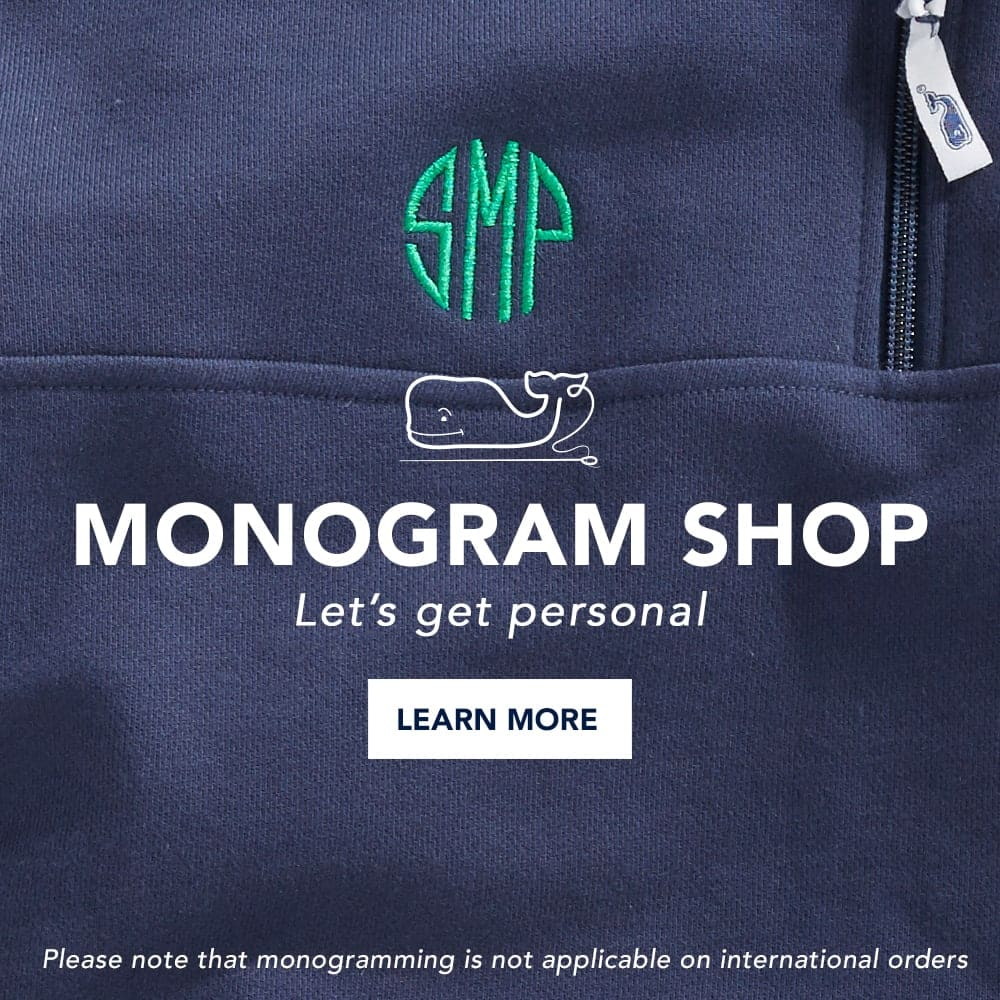 Monogram Shop: Let's Get Personal! Click here to learn more. Please note that monogramming is not applicable on international orders