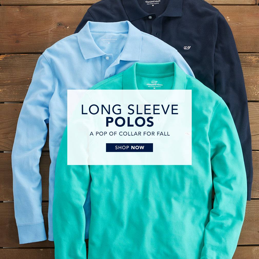 Long sleeve polos. A pop of collar for fall. Shop Now.