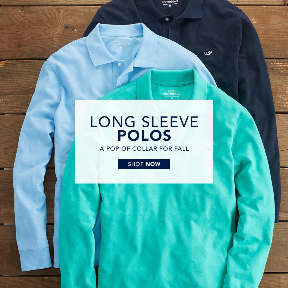 Long sleeve polos. A pop of collar for fall. Shop Now.