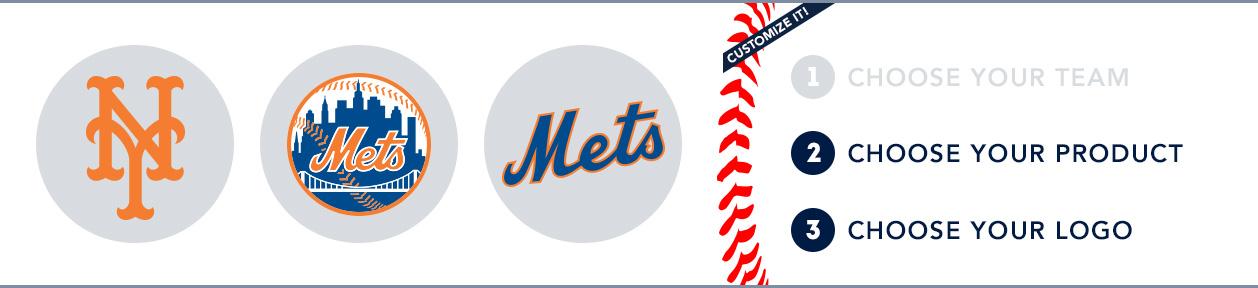 New York Mets Custom MLB Shop: 1) Choose your team. 2) Choose your product. 3) Choose your logo