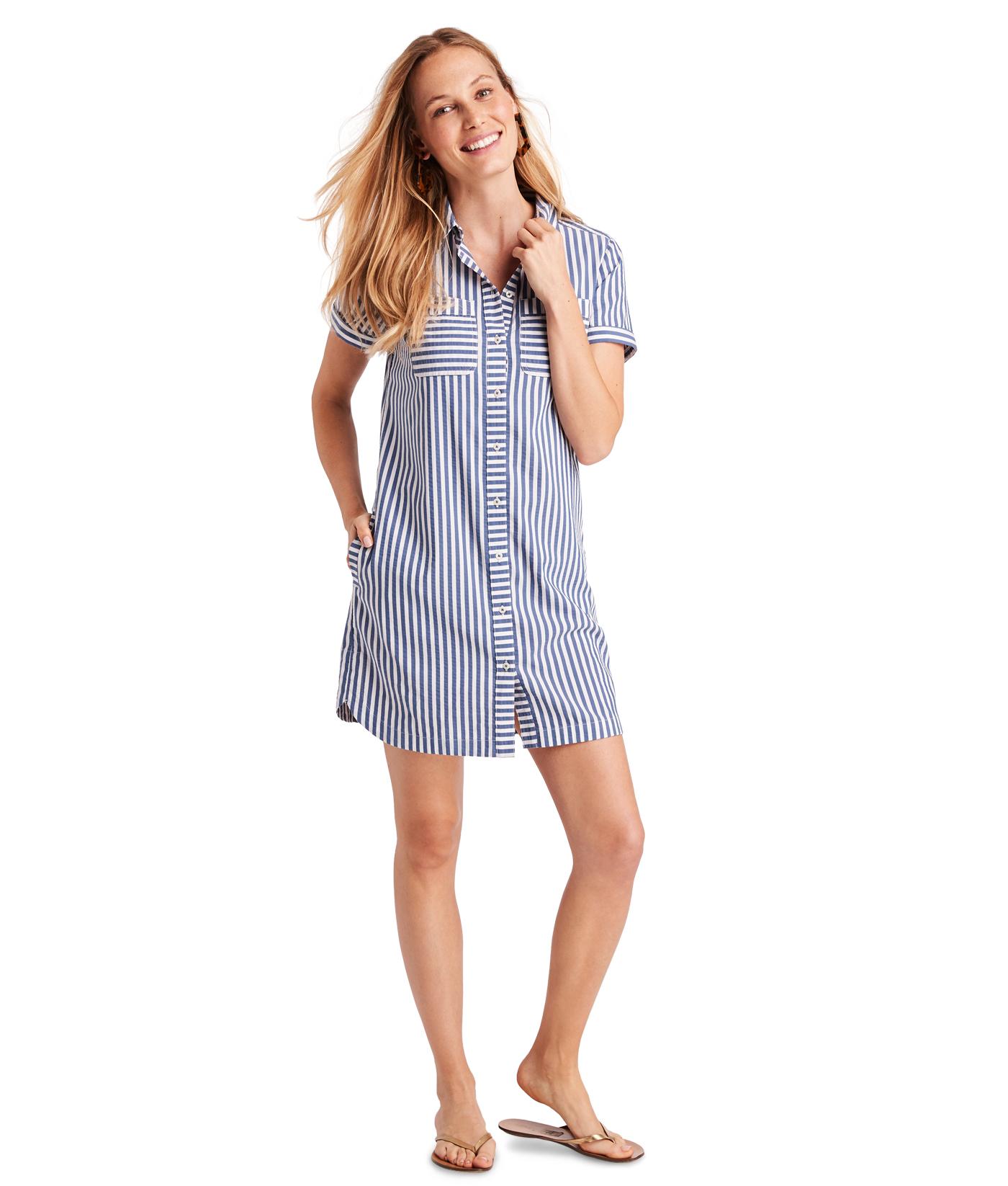 Shop Margo Shore Seersucker Shirt Dress At Vineyard Vines