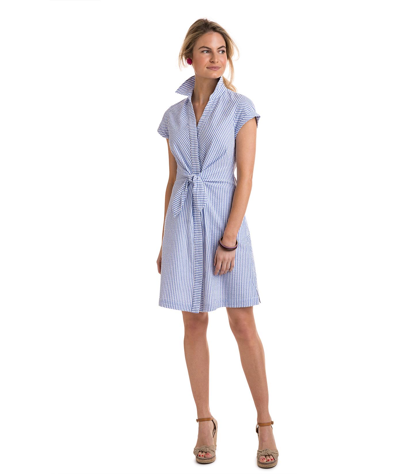 Shop Tie Front Seersucker Shirt Dress At Vineyard Vines