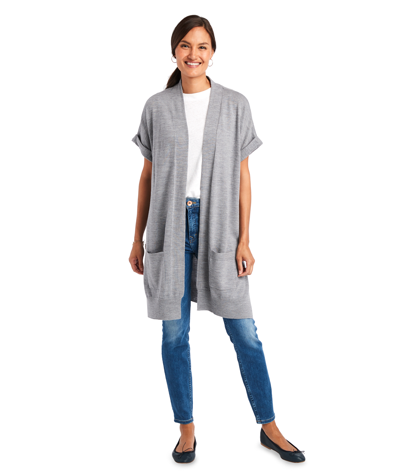 Relaxed Dolman Open Front Cardigan