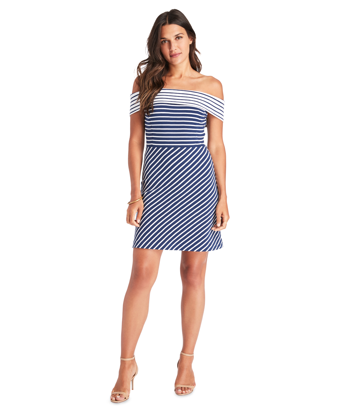 VINEYARD VINES Mixed Stripe Flutter Sleeve Dress MARLIN BLUE 3T or 4T NWT $65