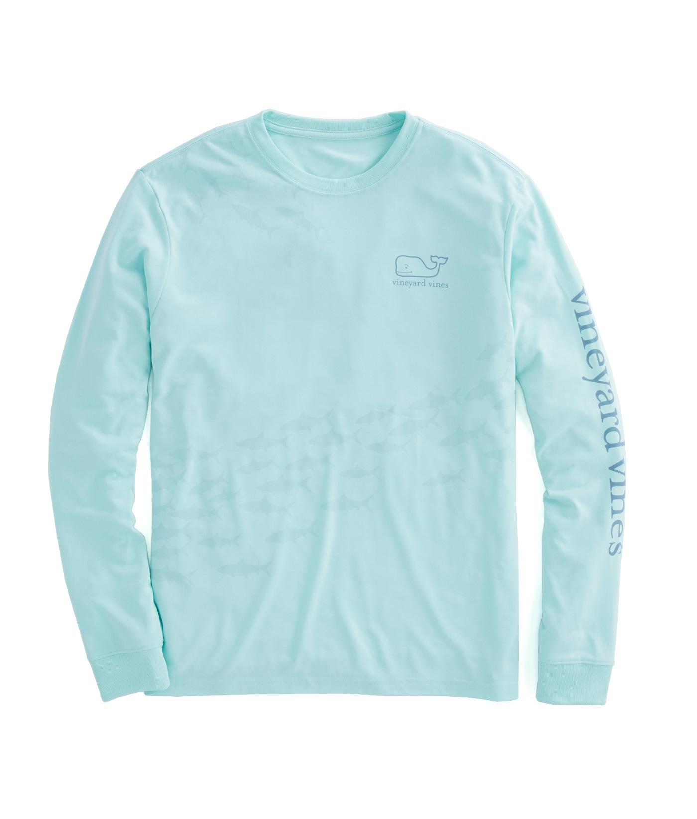 Shop long sleeve fish school performance t shirt at for Vineyard vines fishing shirt