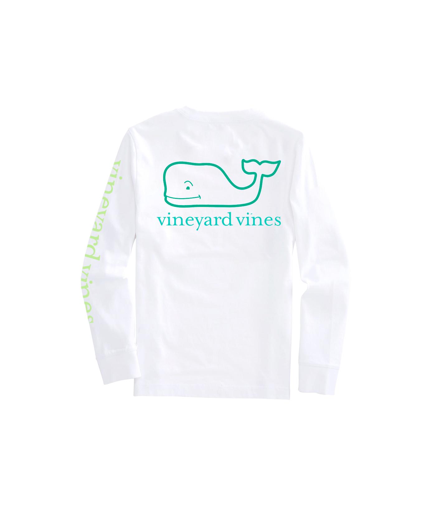 Vineyard Vines Boys White Cap Valentine/'s Day Whale Long Sleeve Pocket T-Shirt