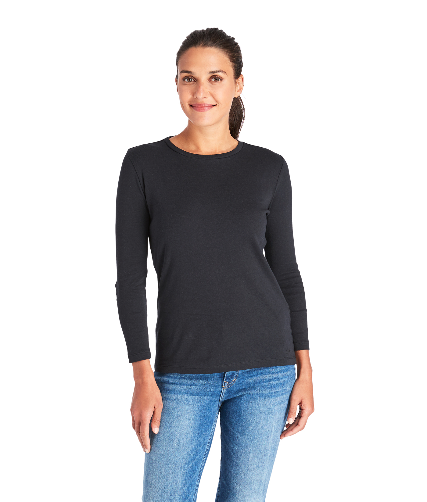 Long-Sleeve Simple Crewneck Tee