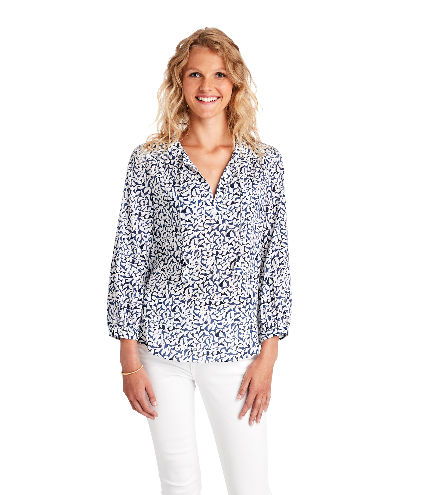 Deep Sea Floral Savannah Popover Top