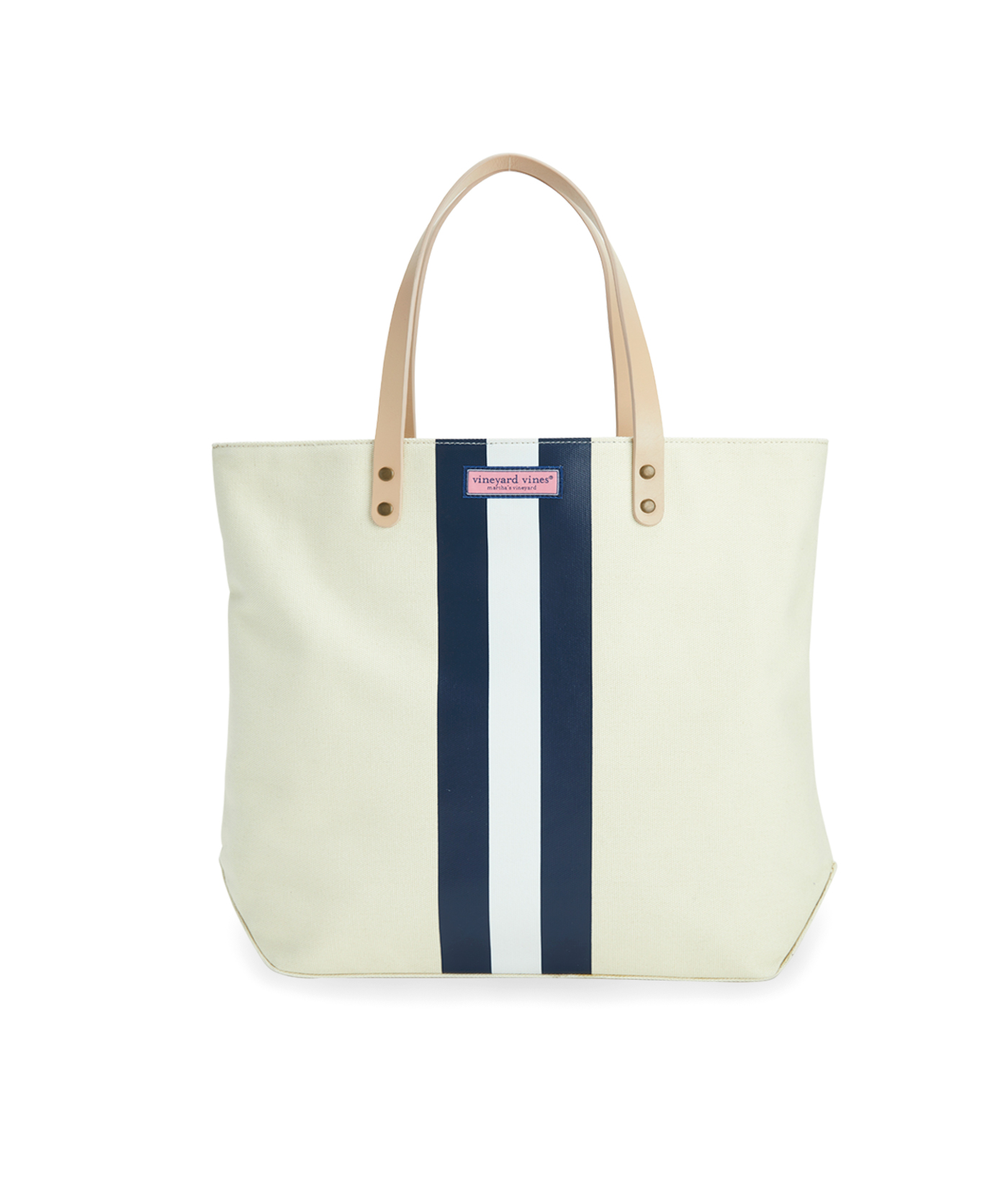 Leather Handle Tri-Stripe Tote Bag