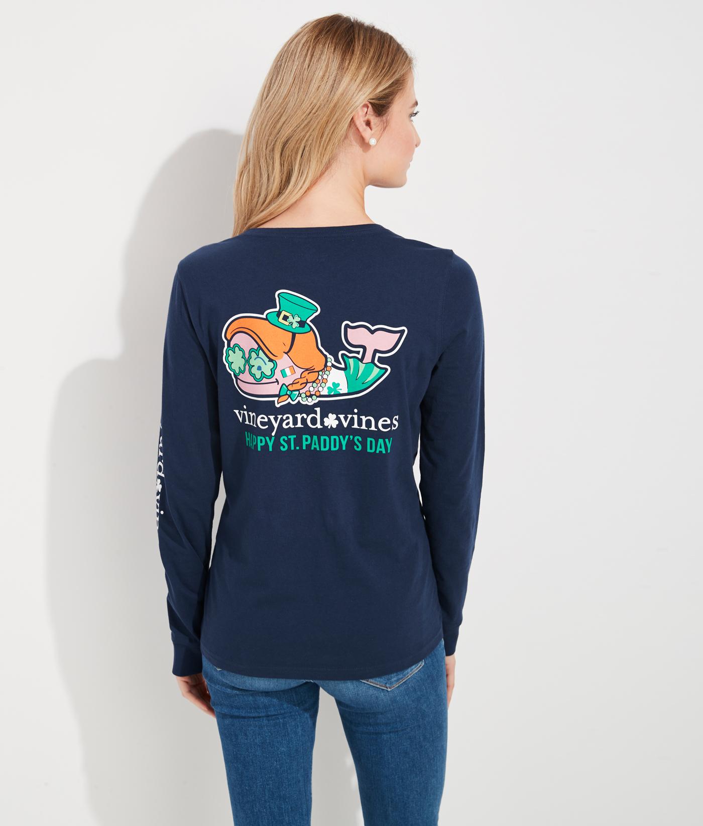 Vineyard Vines Boys Blue Blazer St Paddy Day Whale Pocket Long Sleeve T-Shirt